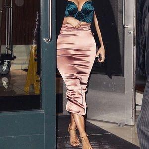 As seen on KIM K! Satin pencil skirt and crop top